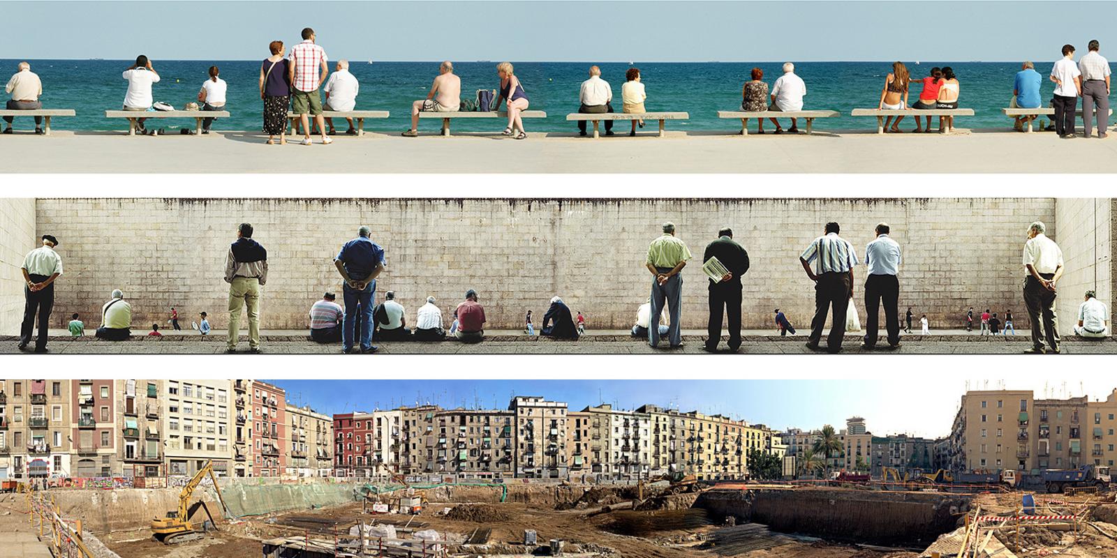 Panoramiques réalisés en espagne 2003-2005. Tirages sur bâche de 20m de long réalisés à l'occasion du Festival d'Architecture Eme3 à Barcelone en 2005. Les images été placées dans différents lieux publics du quartier de Poble Nou lors du festival. Elles continuent aujourd'hui à voyager et se poser dans d'autres lieux, pays.